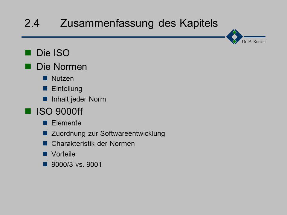 Dr. P. Kneisel 2.3.5Meßbare Vorteile Beanstandungen bei Fremdleistungen oder Zulieferung Soziale Qualität Unfallhäufigkeit Krankenstand Fluktuation Ku