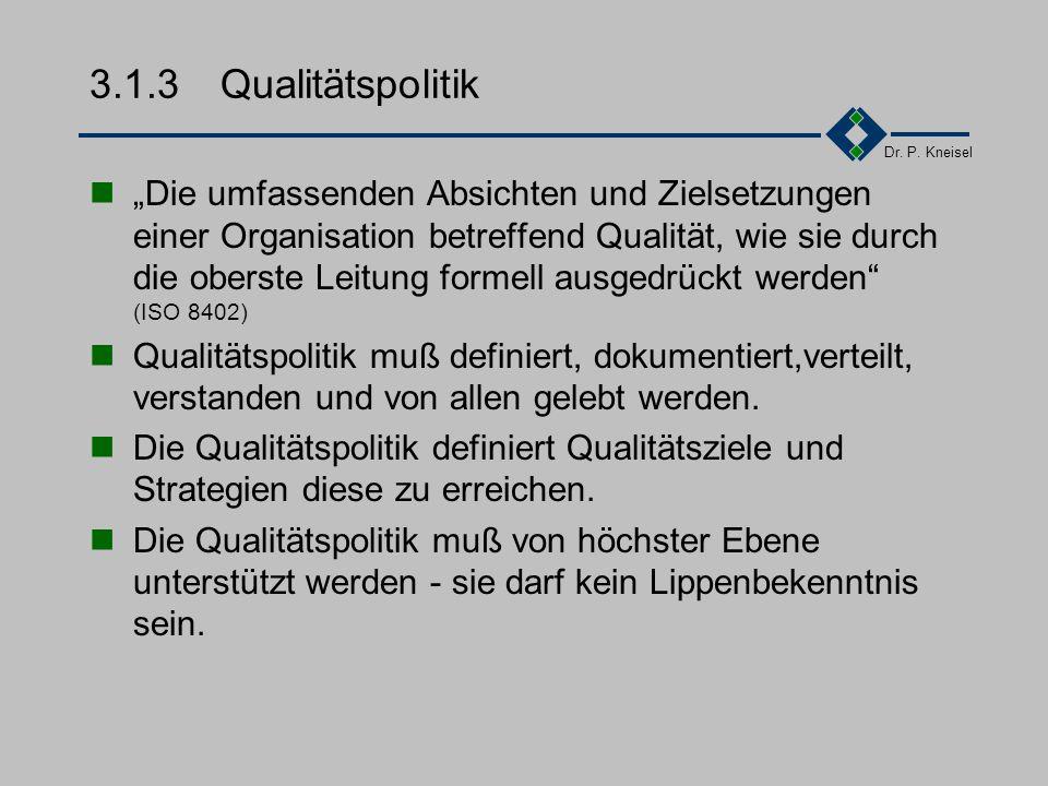Dr. P. Kneisel 3.1.2Anforderungen der Norm Festlegung, Dokumentation und Bekanntmachung der Qualitätspolitik Beschreibung von relevanten Qualitätsziel