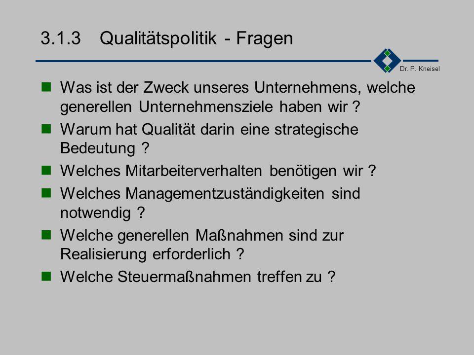 """Dr. P. Kneisel 3.1.3Qualitätspolitik """"Die umfassenden Absichten und Zielsetzungen einer Organisation betreffend Qualität, wie sie durch die oberste Le"""