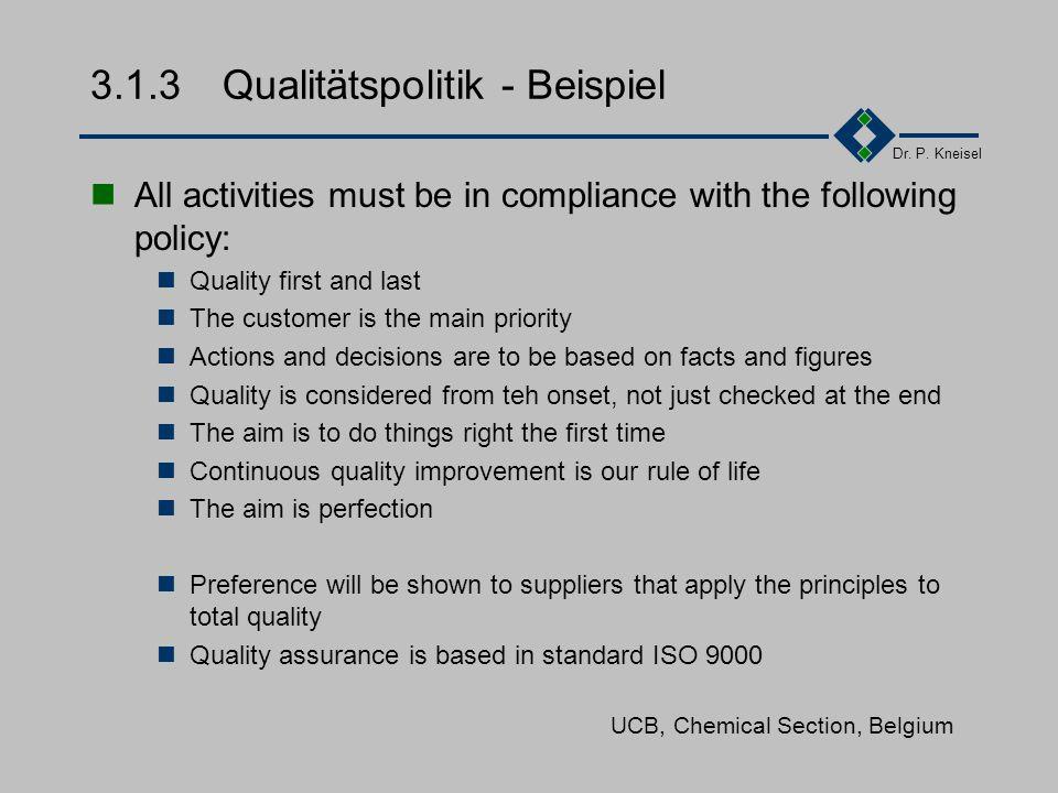 Dr. P. Kneisel 3.1.3Qualitätspolitik - Fragen Was ist der Zweck unseres Unternehmens, welche generellen Unternehmensziele haben wir ? Warum hat Qualit