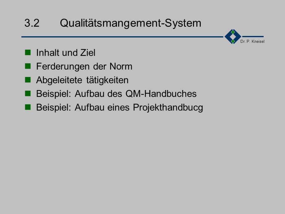 Dr. P. Kneisel 3.1.4Qualitätsorganisation Eindeutige Festlegung der Verantwortlichkeiten und Befugnisse für allen qualitätsrelevanten Tätigkeiten Leit