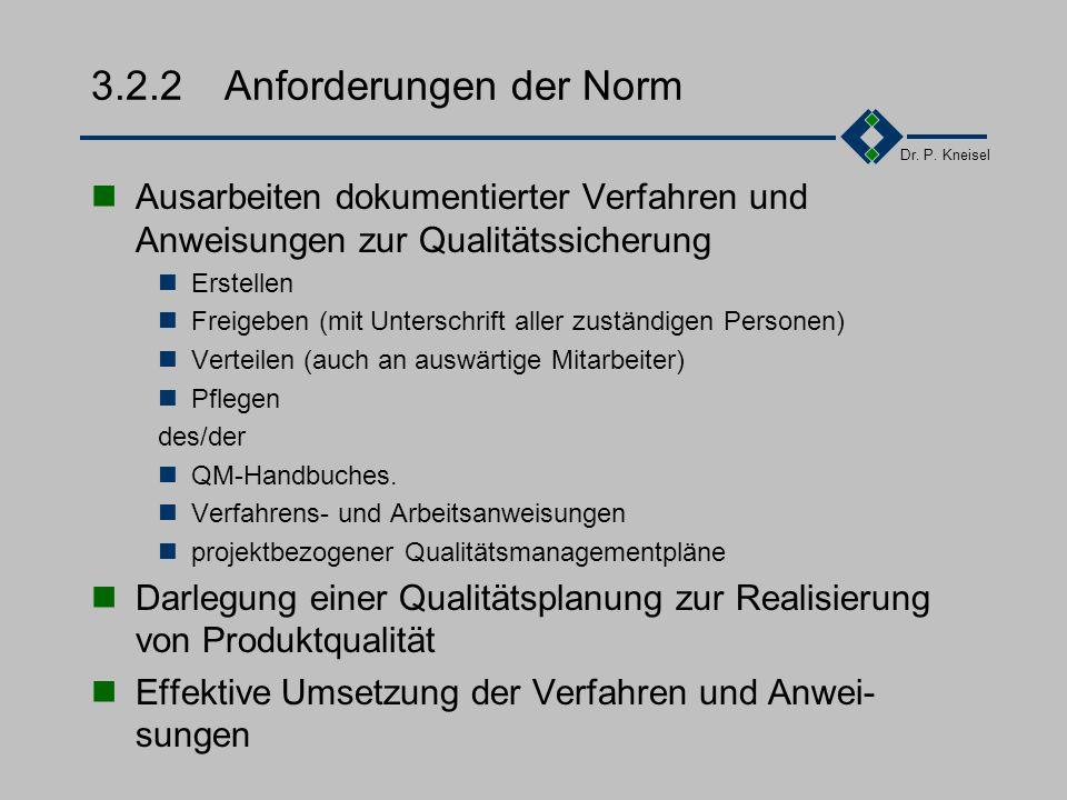 Dr. P. Kneisel 3.2.1Ziel und Inhalt Schnelles, sicheres und vollständiges Überblicken, Verstehen und Beurteilen der Abläufe Schriftliche Niederlegung