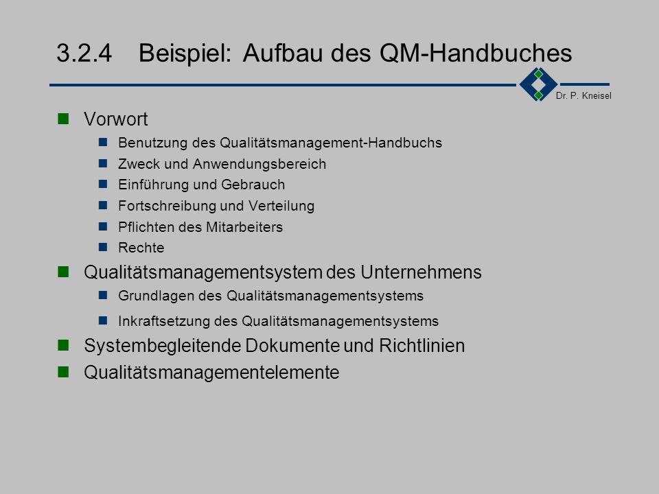 Dr. P. Kneisel Wiederholung Element 1 Verantwortlichkeit des Managements Festlegung, Dokumentation und Bekanntmachung der Qualitätspolitik Regelung de