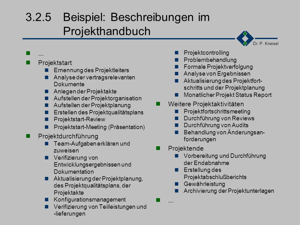 Dr. P. Kneisel 3.2.4Beispiel: Aufbau des QM-Handbuches Vorwort Benutzung des Qualitätsmanagement-Handbuchs Zweck und Anwendungsbereich Einführung und