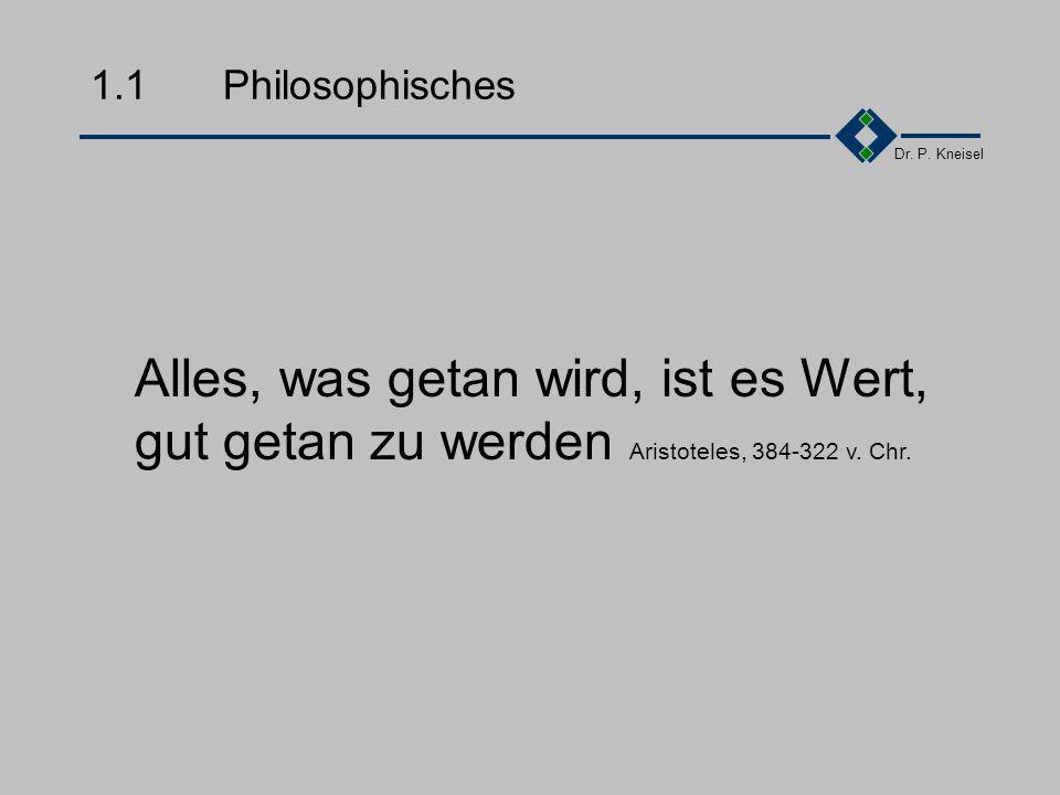 Dr. P. Kneisel Kapitel 1Was ist Qualität Philosophisches Motivationen Einflussgrößen Definitionen Zum Nachdenken Nutzen Gruppenarbeit Zusammenfassung
