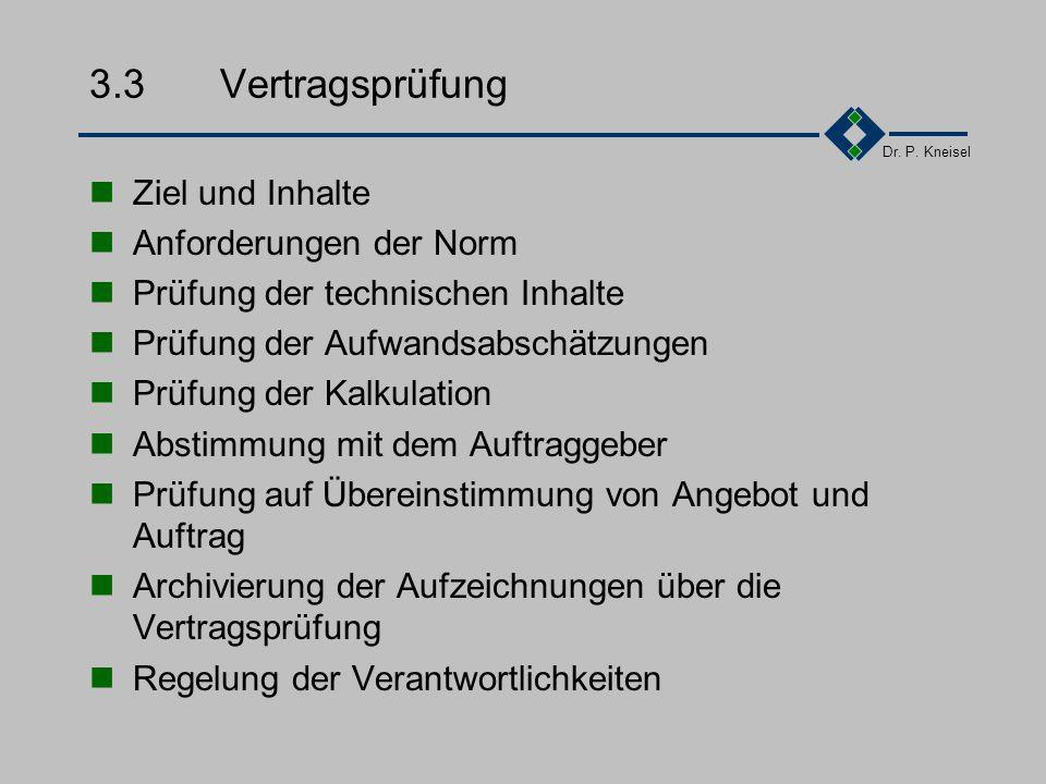Dr. P. Kneisel 3.2.5Beispiel: Beschreibungen im Projekthandbuch... Projektstart Ernennung des Projektleiters Analyse der vertragsrelevanten Dokumente