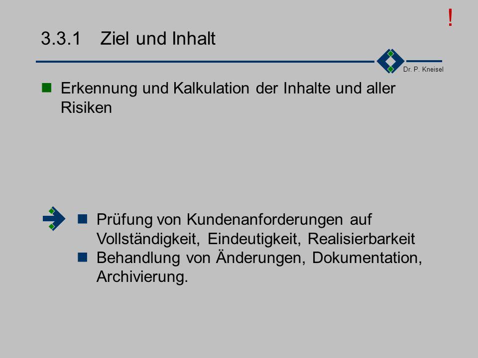 Dr. P. Kneisel 3.3Vertragsprüfung Ziel und Inhalte Anforderungen der Norm Prüfung der technischen Inhalte Prüfung der Aufwandsabschätzungen Prüfung de
