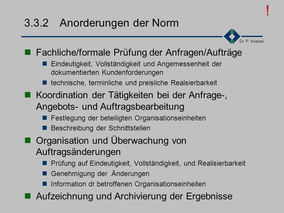Dr. P. Kneisel 3.3.1Ziel und Inhalt Erkennung und Kalkulation der Inhalte und aller Risiken Prüfung von Kundenanforderungen auf Vollständigkeit, Einde