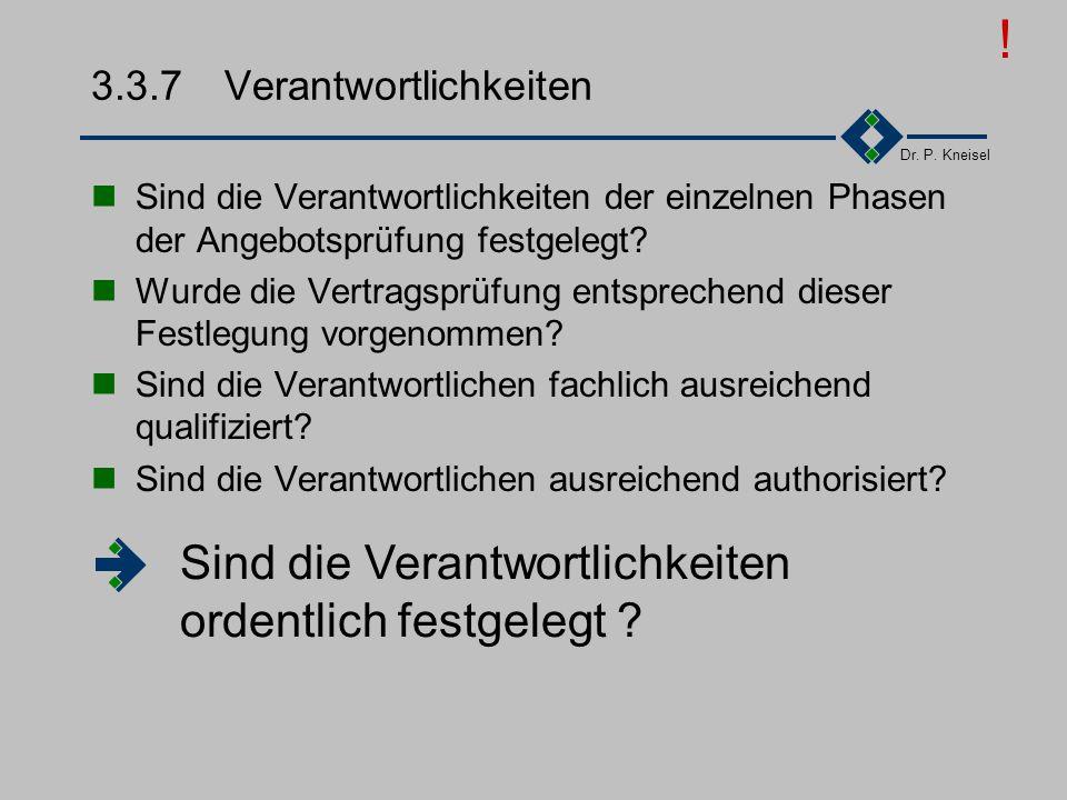 Dr. P. Kneisel 3.3.8Archivierung Wurden alle Schritte der Angebotsprüfung durchgeführt und deren Ergebnis schriftlich dokumentiert? Waren die richtige