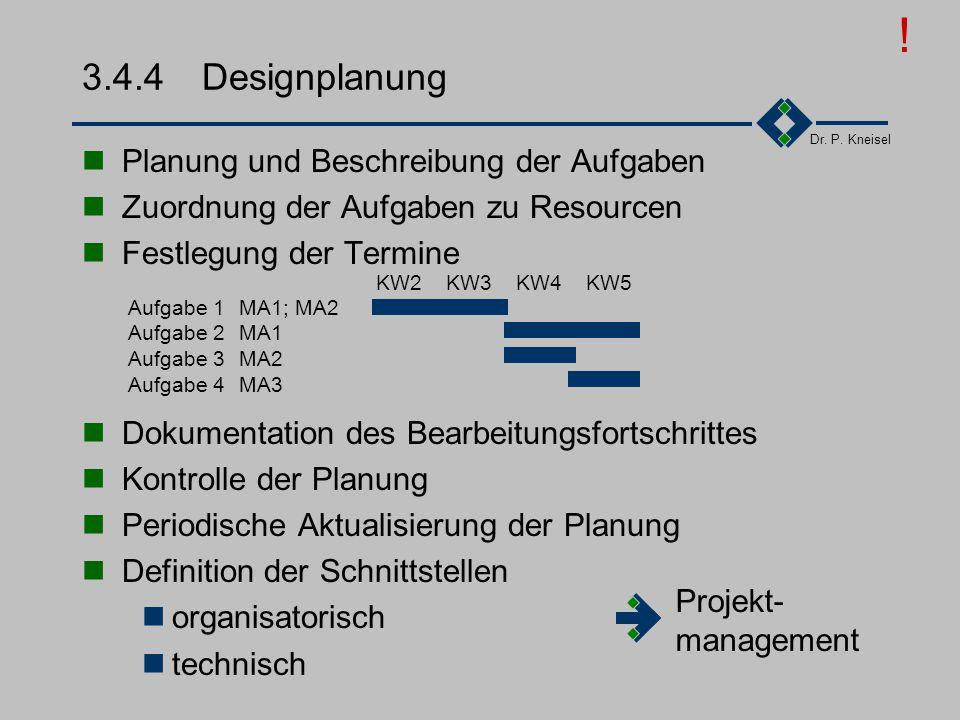 Dr. P. Kneisel 3.4.3Designvorgaben Vorgaben in Pflichtenheften (oder vergleichbaren Dokumenten) Inhalt des Pflichtenheft beschreibt die verbindlichen
