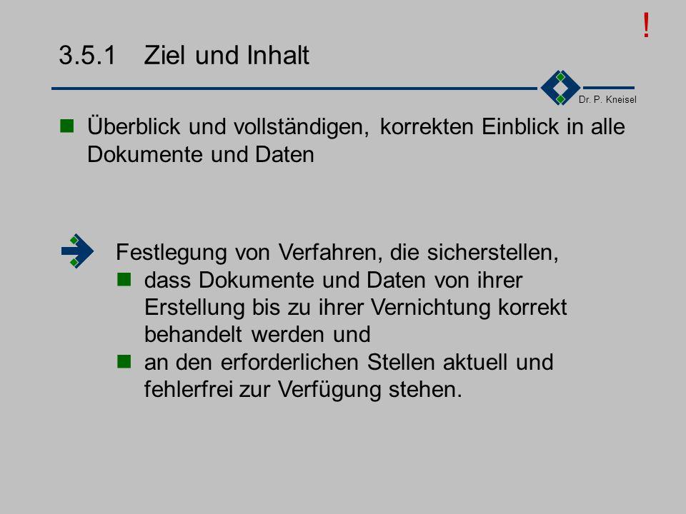 Dr. P. Kneisel 3.5Lenkung der Dokumentation Ziel und Inhalt Anforderungen der Norm Abgeleitete Tätigkeiten Arten von Dokumenten Beispiel Kennzeichnung
