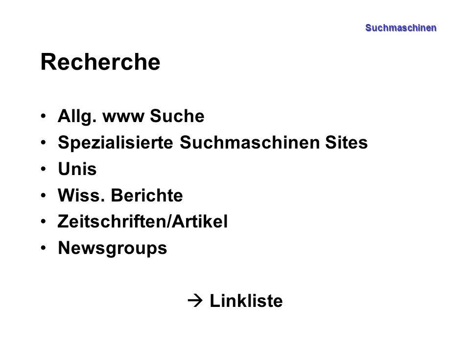 Suchmaschinen Recherche Allg. www Suche Spezialisierte Suchmaschinen Sites Unis Wiss. Berichte Zeitschriften/Artikel Newsgroups  Linkliste