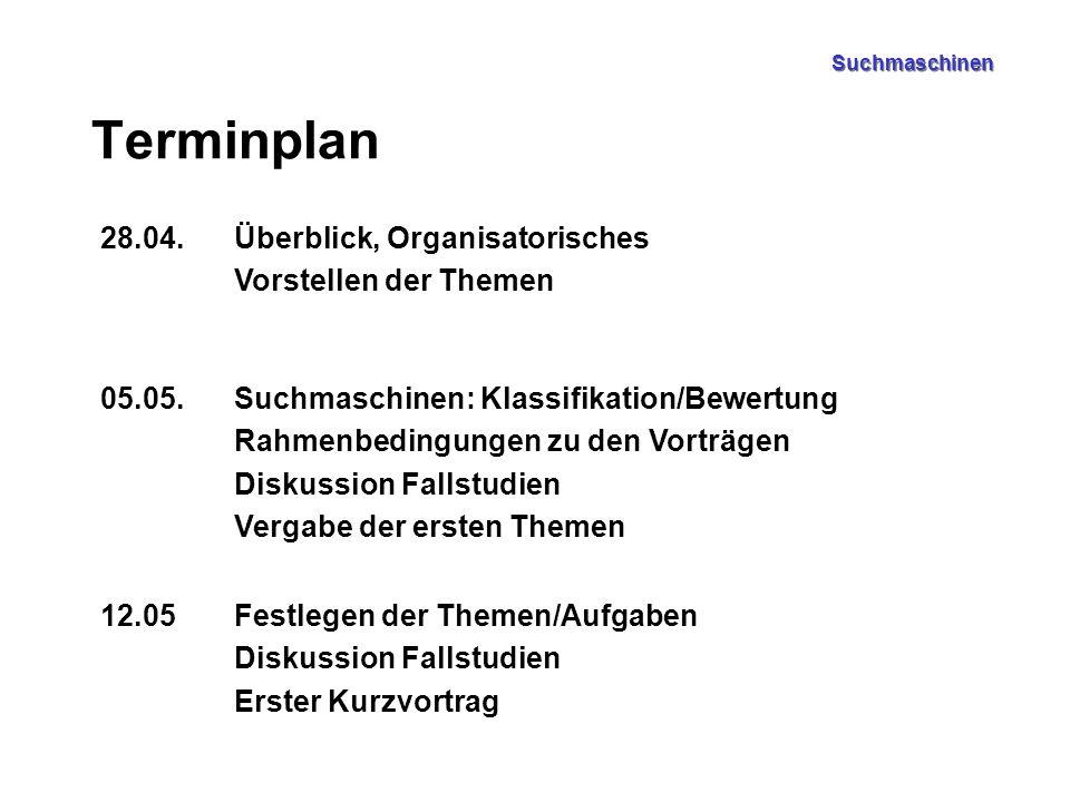 Terminplan 28.04.Überblick, Organisatorisches Vorstellen der Themen 05.05.Suchmaschinen: Klassifikation/Bewertung Rahmenbedingungen zu den Vorträgen D