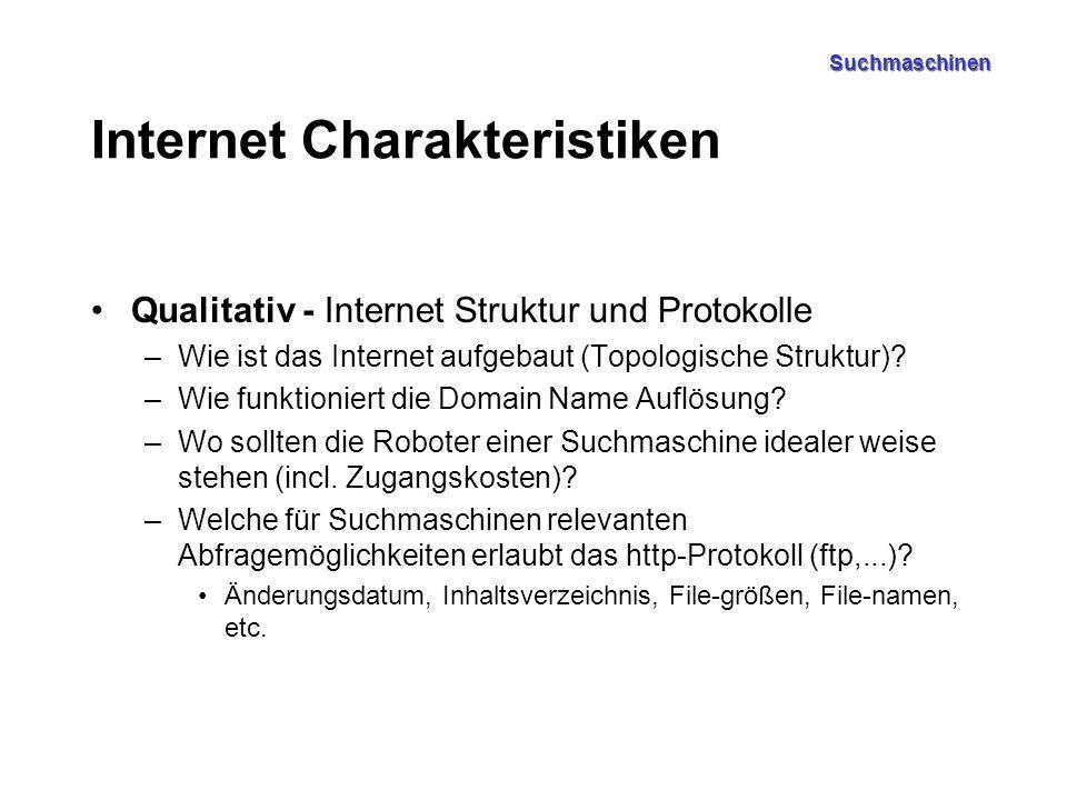 Suchmaschinen Internet Charakteristiken Qualitativ - Internet Struktur und Protokolle –Wie ist das Internet aufgebaut (Topologische Struktur)? –Wie fu