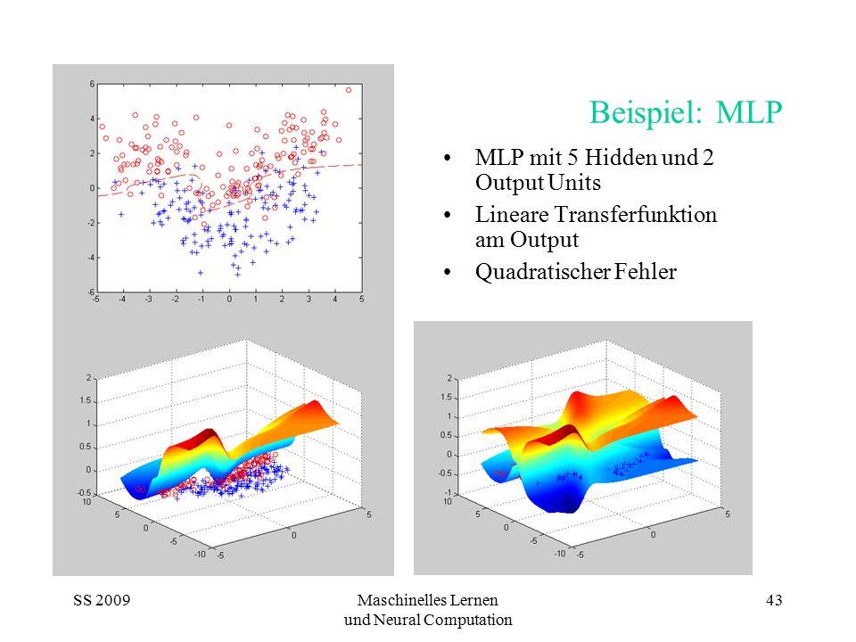 SS 2009Maschinelles Lernen und Neural Computation 43 Beispiel: MLP MLP mit 5 Hidden und 2 Output Units Lineare Transferfunktion am Output Quadratische