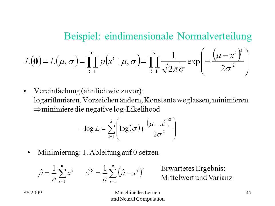 SS 2009Maschinelles Lernen und Neural Computation 47 Beispiel: eindimensionale Normalverteilung Vereinfachung (ähnlich wie zuvor): logarithmieren, Vor