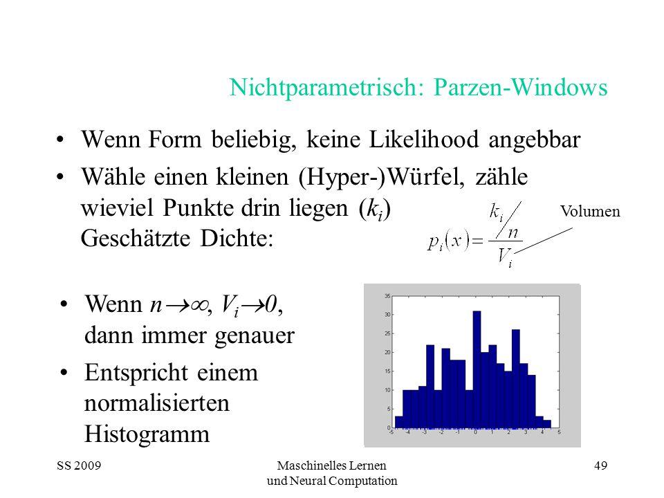 SS 2009Maschinelles Lernen und Neural Computation 49 Nichtparametrisch: Parzen-Windows Wenn Form beliebig, keine Likelihood angebbar Wähle einen klein