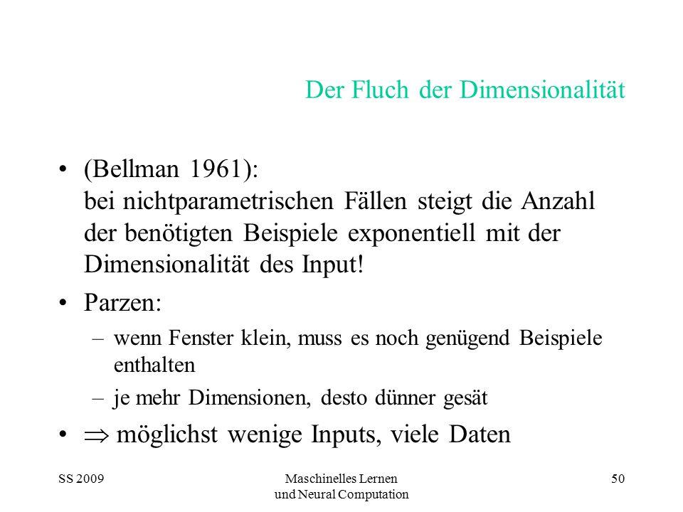 SS 2009Maschinelles Lernen und Neural Computation 50 Der Fluch der Dimensionalität (Bellman 1961): bei nichtparametrischen Fällen steigt die Anzahl de