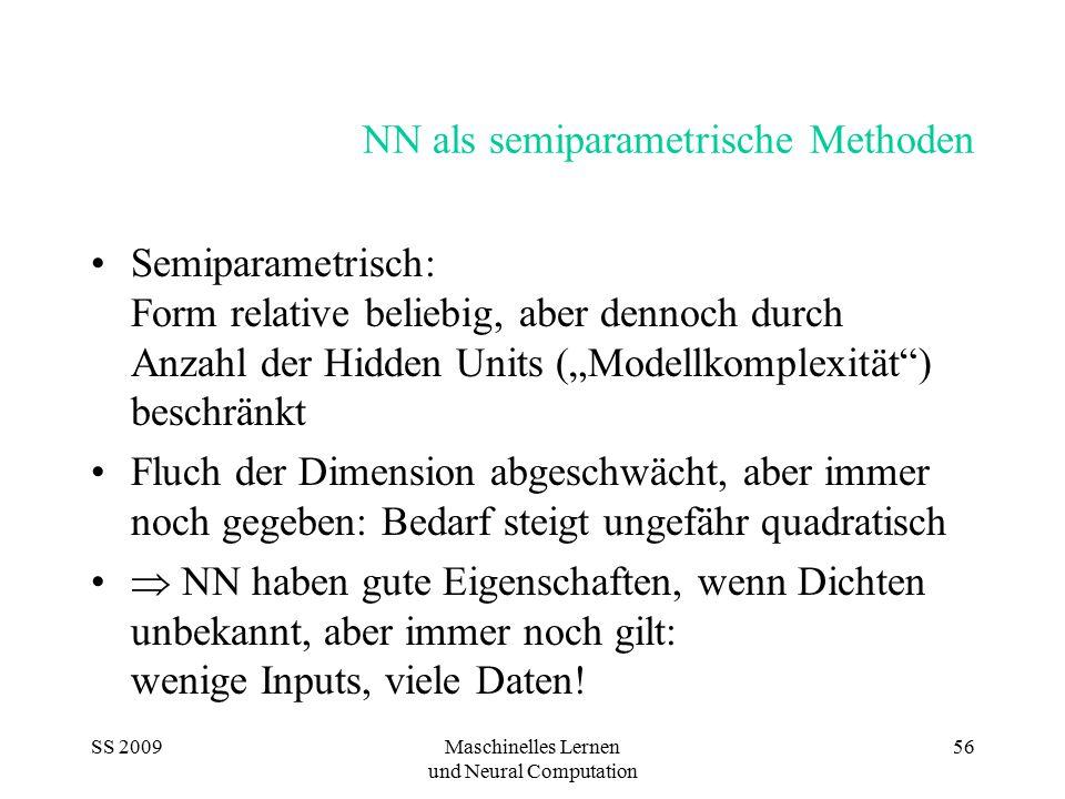 SS 2009Maschinelles Lernen und Neural Computation 56 NN als semiparametrische Methoden Semiparametrisch: Form relative beliebig, aber dennoch durch An