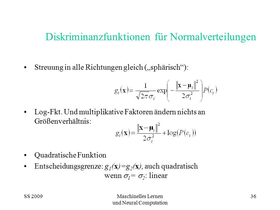 """SS 2009Maschinelles Lernen und Neural Computation 36 Diskriminanzfunktionen für Normalverteilungen Streuung in alle Richtungen gleich (""""sphärisch""""): L"""
