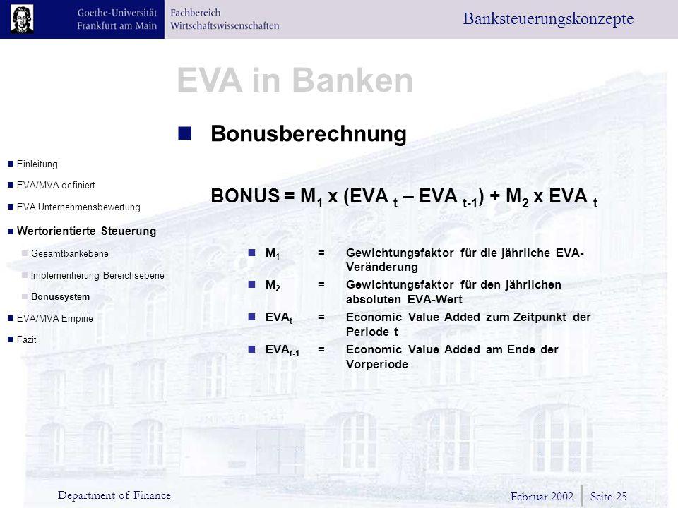 Februar 2002 Seite 25 Department of Finance EVA in Banken Banksteuerungskonzepte Bonusberechnung BONUS = M 1 x (EVA t – EVA t-1 ) + M 2 x EVA t M 1 =Gewichtungsfaktor für die jährliche EVA- Veränderung M 2 =Gewichtungsfaktor für den jährlichen absoluten EVA-Wert EVA t = Economic Value Added zum Zeitpunkt der Periode t EVA t-1 = Economic Value Added am Ende der Vorperiode Einleitung EVA/MVA definiert EVA Unternehmensbewertung Wertorientierte Steuerung Gesamtbankebene Implementierung Bereichsebene Bonussystem EVA/MVA Empirie Fazit