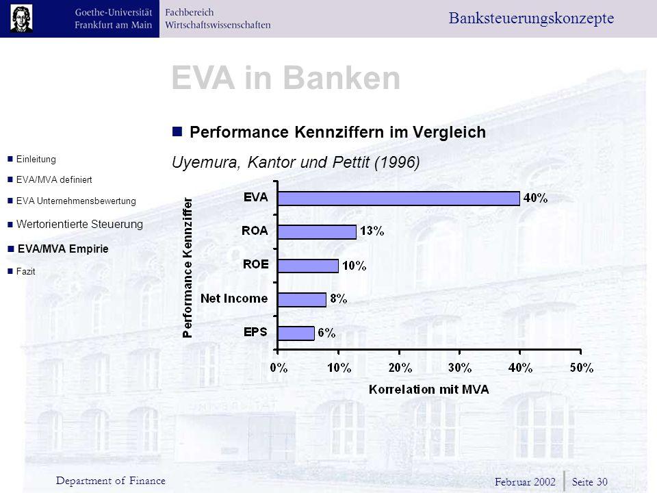 Februar 2002 Seite 30 Department of Finance EVA in Banken Banksteuerungskonzepte Performance Kennziffern im Vergleich Uyemura, Kantor und Pettit (1996) Einleitung EVA/MVA definiert EVA Unternehmensbewertung Wertorientierte Steuerung EVA/MVA Empirie Fazit