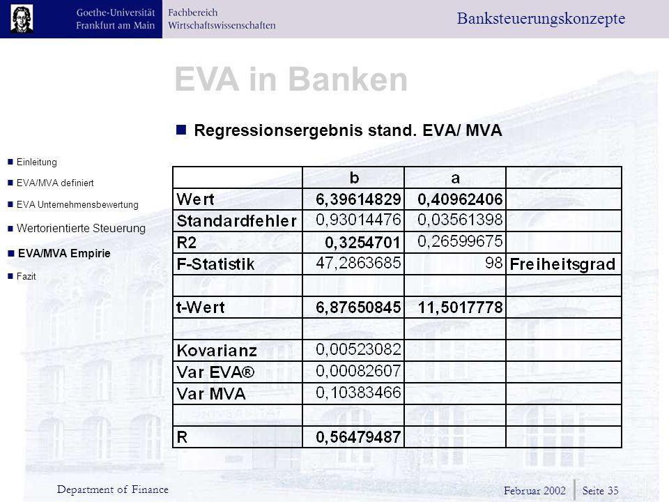 Februar 2002 Seite 35 Department of Finance EVA in Banken Banksteuerungskonzepte Regressionsergebnis stand.