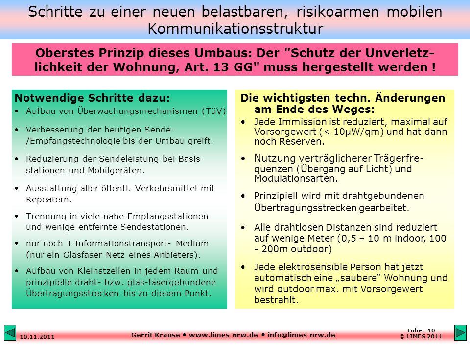 Gerrit Krause www.limes-nrw.de info@limes-nrw.de 10.11.2011 Folie: 10 © LIMES 2011 Schritte zu einer neuen belastbaren, risikoarmen mobilen Kommunikationsstruktur Notwendige Schritte dazu: Aufbau von Überwachungsmechanismen (TüV) Verbesserung der heutigen Sende- /Empfangstechnologie bis der Umbau greift.