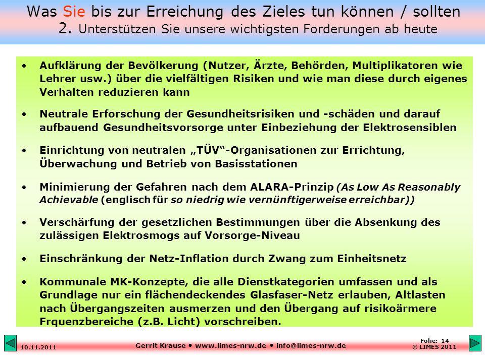 Gerrit Krause www.limes-nrw.de info@limes-nrw.de 10.11.2011 Folie: 14 © LIMES 2011 Was Sie bis zur Erreichung des Zieles tun können / sollten 2.