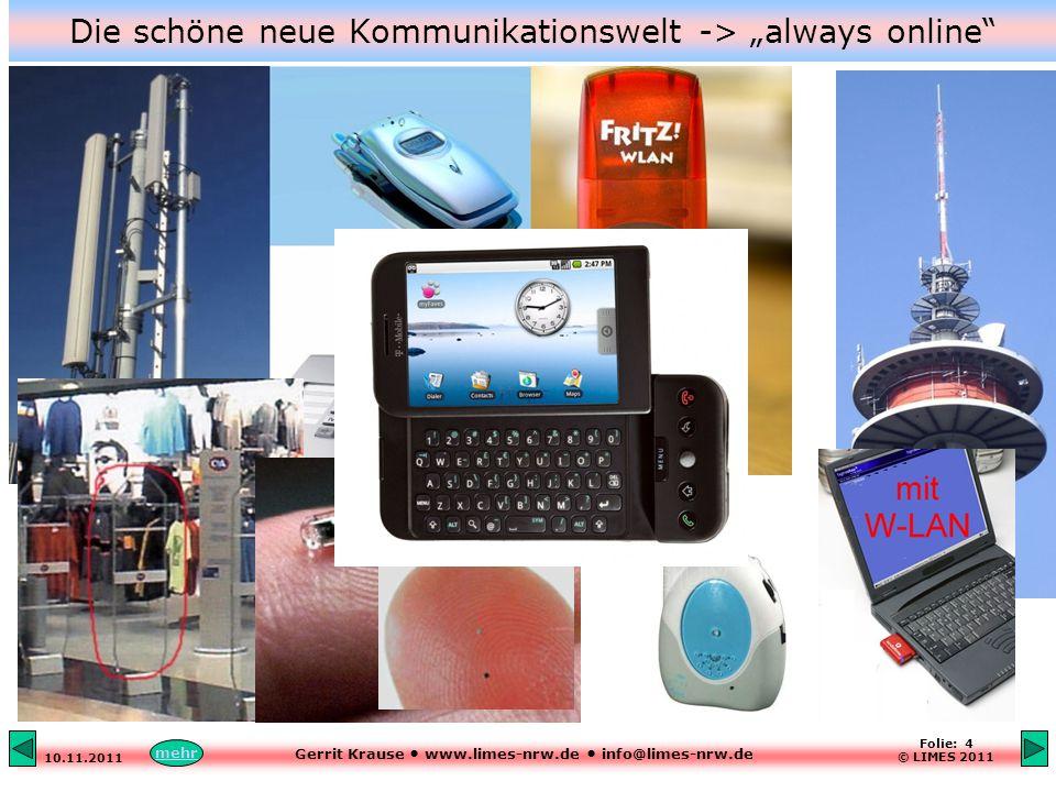 """Gerrit Krause www.limes-nrw.de info@limes-nrw.de 10.11.2011 Folie: 4 © LIMES 2011 Die schöne neue Kommunikationswelt -> """"always online mehr"""