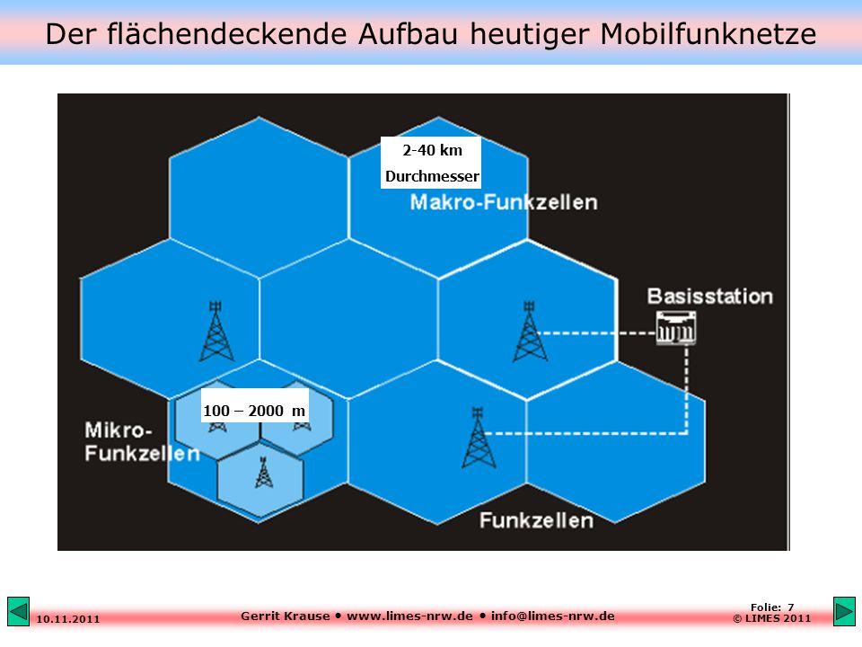 Gerrit Krause www.limes-nrw.de info@limes-nrw.de 10.11.2011 Folie: 7 © LIMES 2011 Der flächendeckende Aufbau heutiger Mobilfunknetze 2-40 km Durchmesser 100 – 2000 m