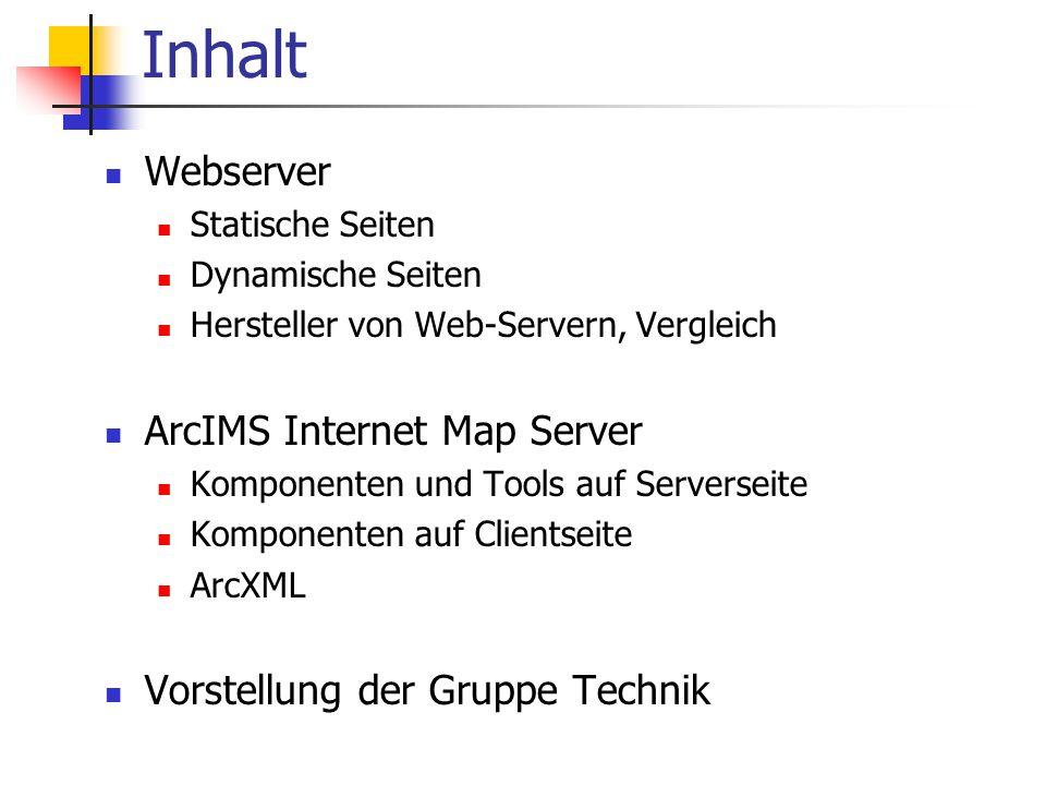 Aufgaben der Gruppe Technik Webserver: Apache oder Microsoft IIS.