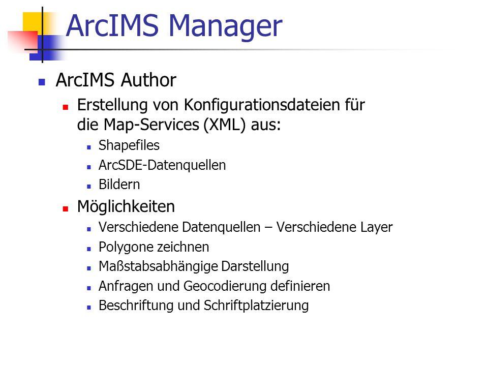 ArcIMS Manager ArcIMS Author Erstellung von Konfigurationsdateien für die Map-Services (XML) aus: Shapefiles ArcSDE-Datenquellen Bildern Möglichkeiten Verschiedene Datenquellen – Verschiedene Layer Polygone zeichnen Maßstabsabhängige Darstellung Anfragen und Geocodierung definieren Beschriftung und Schriftplatzierung