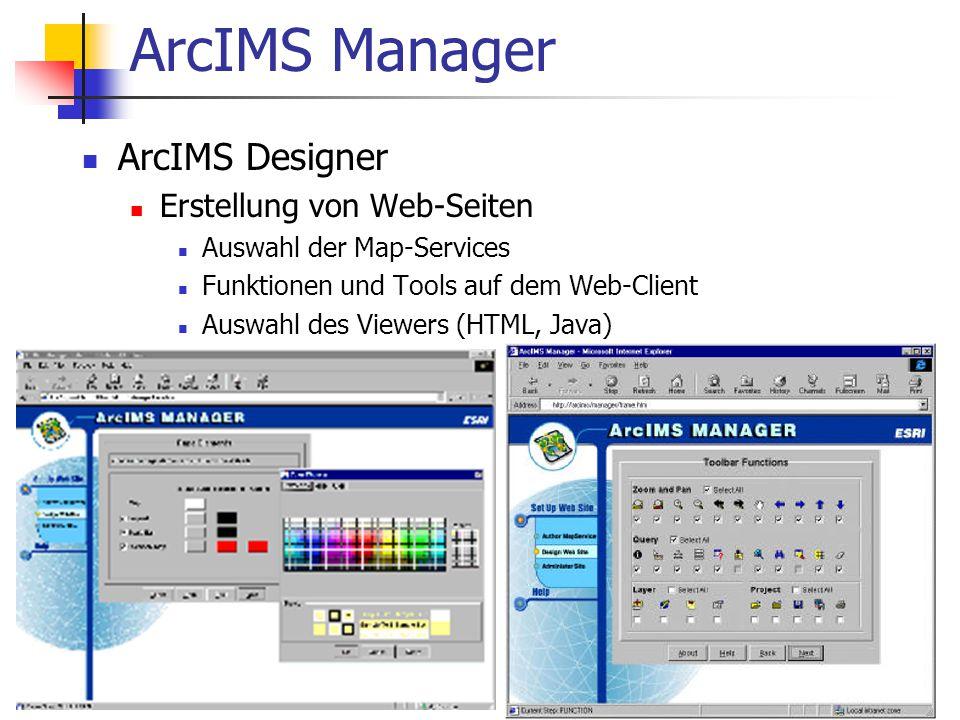ArcIMS Manager ArcIMS Designer Erstellung von Web-Seiten Auswahl der Map-Services Funktionen und Tools auf dem Web-Client Auswahl des Viewers (HTML, Java)