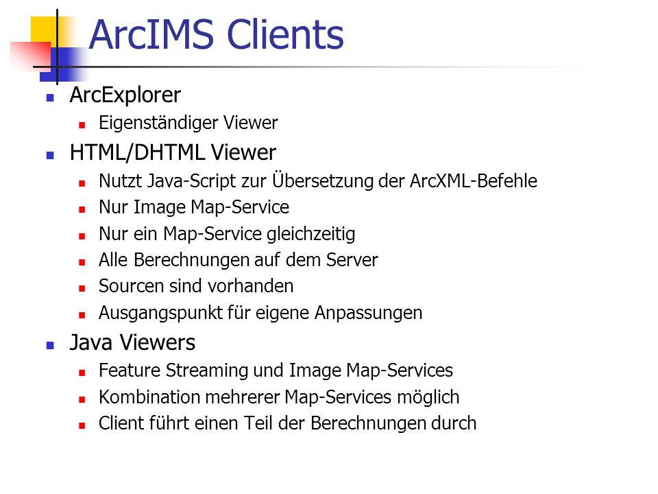 ArcIMS Clients ArcExplorer Eigenständiger Viewer HTML/DHTML Viewer Nutzt Java-Script zur Übersetzung der ArcXML-Befehle Nur Image Map-Service Nur ein Map-Service gleichzeitig Alle Berechnungen auf dem Server Sourcen sind vorhanden Ausgangspunkt für eigene Anpassungen Java Viewers Feature Streaming und Image Map-Services Kombination mehrerer Map-Services möglich Client führt einen Teil der Berechnungen durch