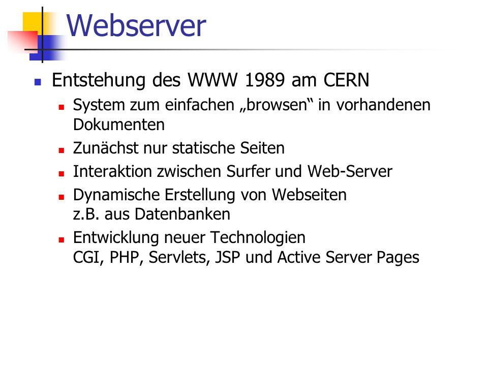 """Webserver Entstehung des WWW 1989 am CERN System zum einfachen """"browsen in vorhandenen Dokumenten Zunächst nur statische Seiten Interaktion zwischen Surfer und Web-Server Dynamische Erstellung von Webseiten z.B."""
