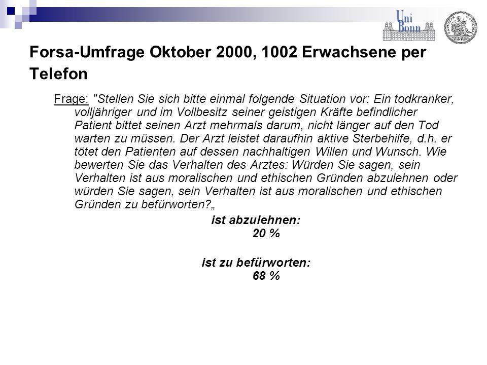 Forsa-Umfrage Oktober 2000, 1002 Erwachsene per Telefon Frage: