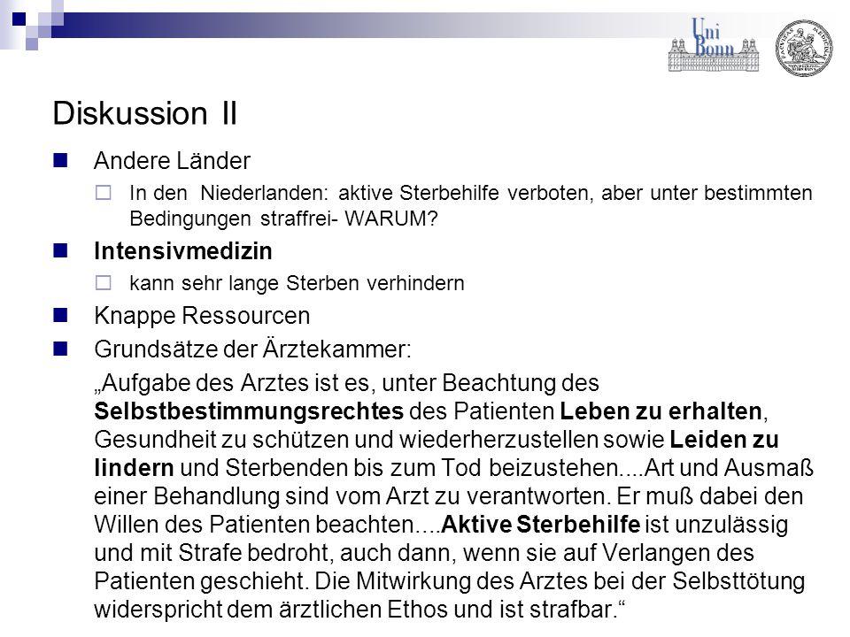 Diskussion II Andere Länder  In den Niederlanden: aktive Sterbehilfe verboten, aber unter bestimmten Bedingungen straffrei- WARUM? Intensivmedizin 