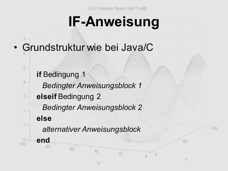 IF-Anweisung Grundstruktur wie bei Java/C if Bedingung 1 Bedingter Anweisungsblock 1 elseif Bedingung 2 Bedingter Anweisungsblock 2 else alternativer