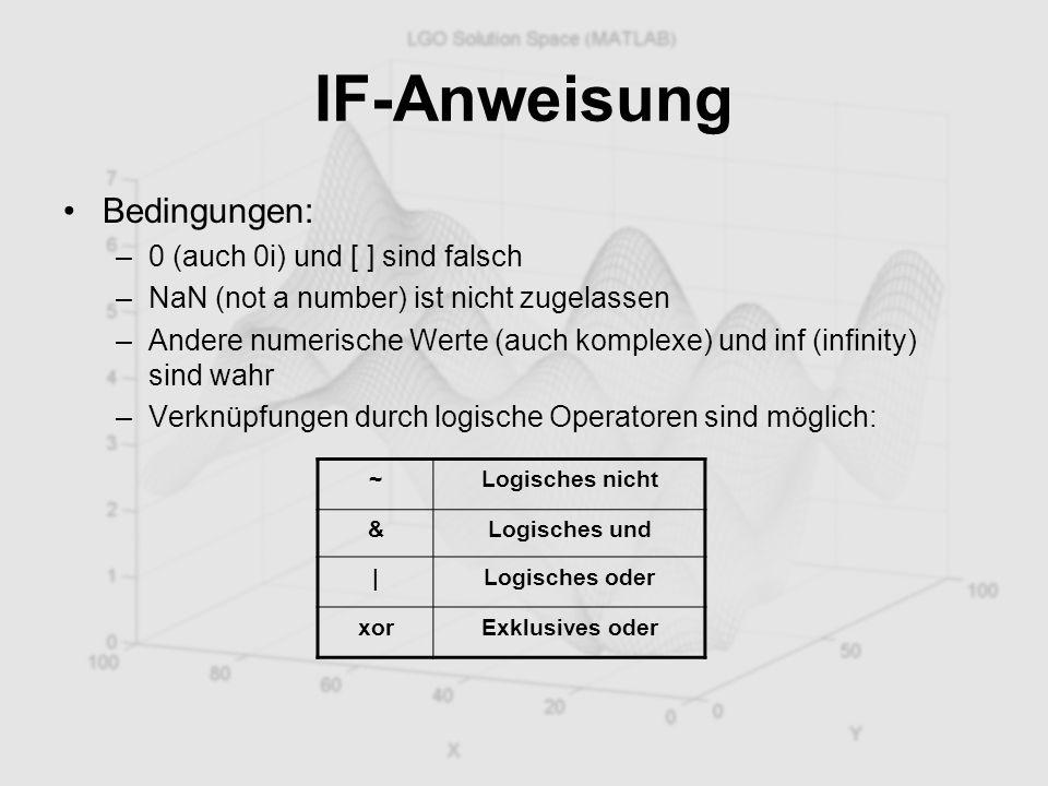 IF-Anweisung Bedingungen: –0 (auch 0i) und [ ] sind falsch –NaN (not a number) ist nicht zugelassen –Andere numerische Werte (auch komplexe) und inf (