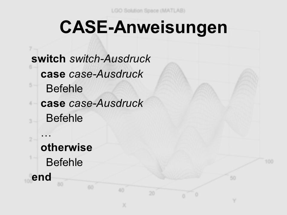 CASE-Anweisungen switch switch-Ausdruck case case-Ausdruck Befehle case case-Ausdruck Befehle … otherwise Befehle end