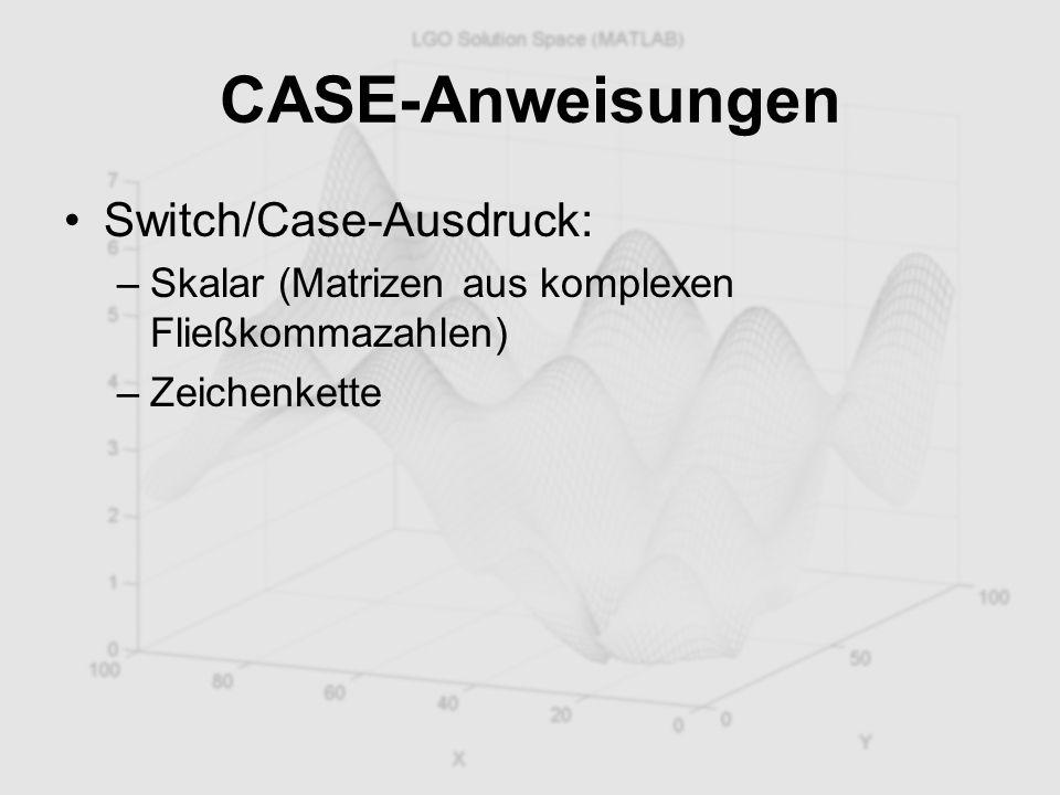 CASE-Anweisungen Switch/Case-Ausdruck: –Skalar (Matrizen aus komplexen Fließkommazahlen) –Zeichenkette