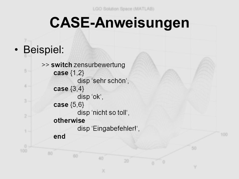 CASE-Anweisungen Beispiel: >> switch zensurbewertung case {1,2} disp 'sehr schön', case {3,4} disp 'ok', case {5,6} disp 'nicht so toll', otherwise di