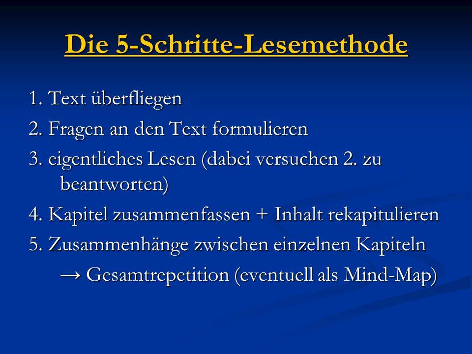 Die 5-Schritte-Lesemethode 1. Text überfliegen 2. Fragen an den Text formulieren 3. eigentliches Lesen (dabei versuchen 2. zu beantworten) 4. Kapitel