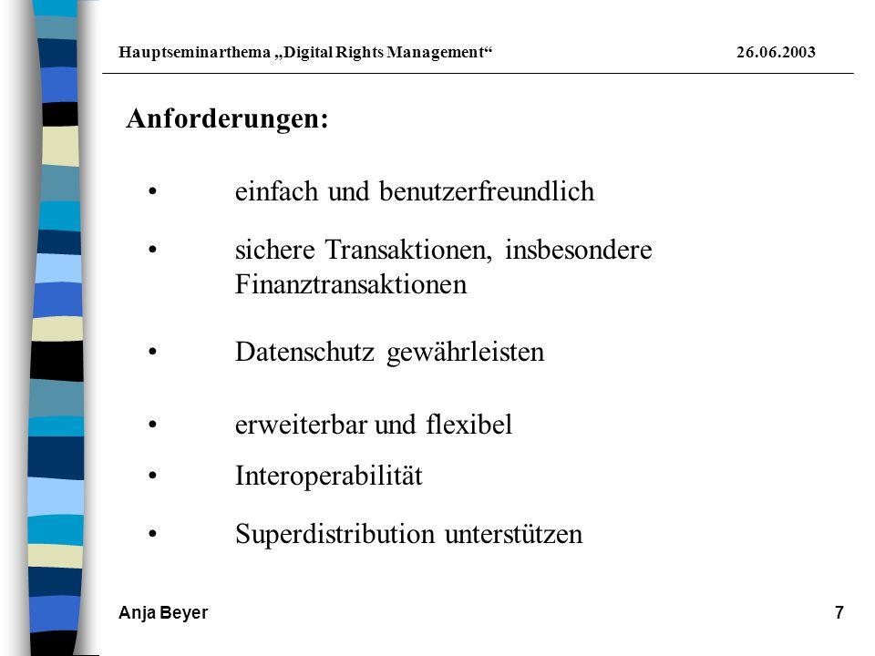 "Hauptseminarthema ""Digital Rights Management 26.06.2003 Anja Beyer8 3."
