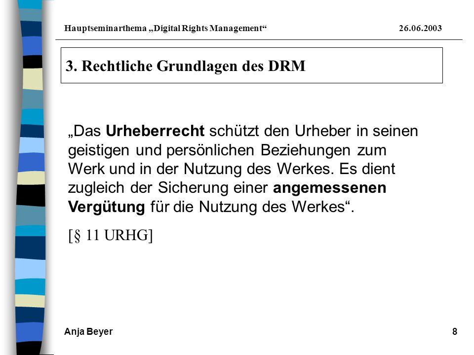"""Hauptseminarthema """"Digital Rights Management 26.06.2003 Anja Beyer9 Situation: Urheber -Werk - Finanzielle Beteiligung - Tauschbörse - ohne Bezahlung - keine Nutzungsrechte - Verletzung des UrhR Nutzer"""