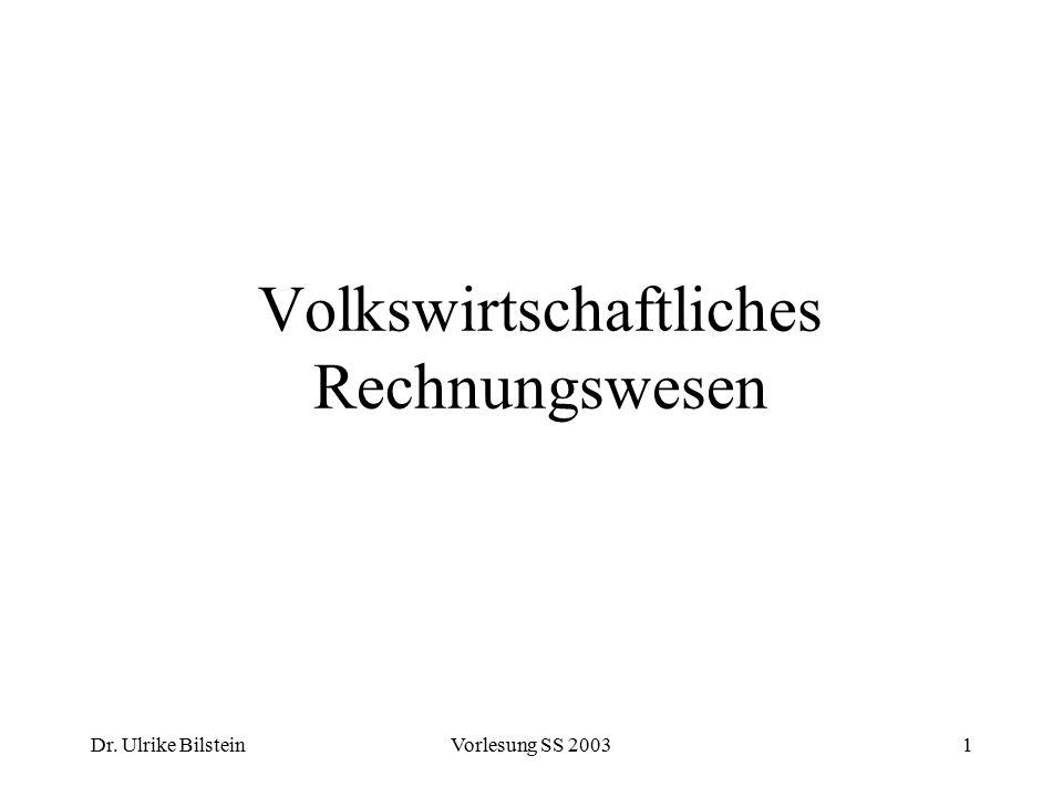 Dr.Ulrike BilsteinVorlesung SS 2003162 Die volkswirtschaftliche Gesamtrechnung (VGR) der BRD I.