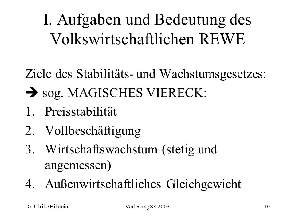 Dr. Ulrike BilsteinVorlesung SS 200310 I. Aufgaben und Bedeutung des Volkswirtschaftlichen REWE Ziele des Stabilitäts- und Wachstumsgesetzes:  sog. M