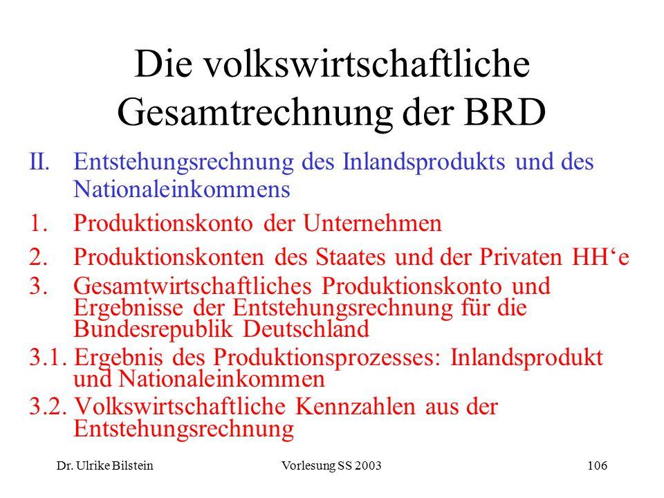 Dr. Ulrike BilsteinVorlesung SS 2003106 Die volkswirtschaftliche Gesamtrechnung der BRD II.Entstehungsrechnung des Inlandsprodukts und des Nationalein