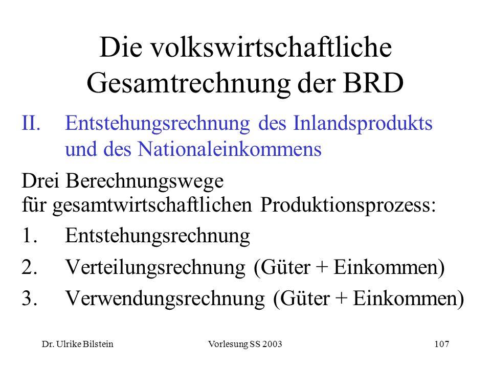 Dr. Ulrike BilsteinVorlesung SS 2003107 Die volkswirtschaftliche Gesamtrechnung der BRD II.Entstehungsrechnung des Inlandsprodukts und des Nationalein